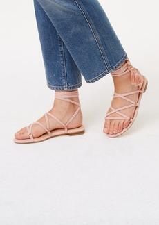 LOFT Tasseled Lace Up Sandals