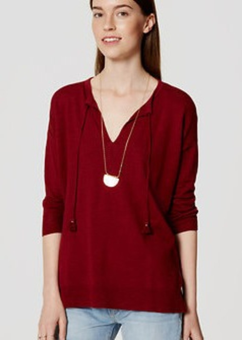 LOFT Tasseled Tunic Sweater