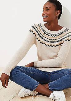 LOFT Textured Fairisle Sweater