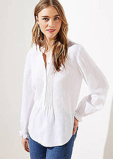 LOFT Textured Pintucked Ruffle Cuff Blouse