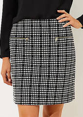 LOFT Textured Plaid Zip Pocket Shift Skirt