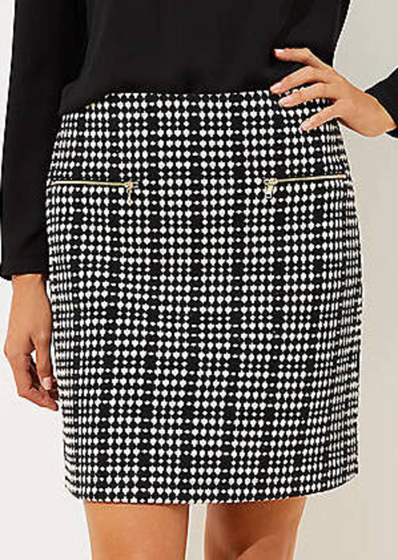 LOFT Textured Plaid Zip Pocket Shift Skirt