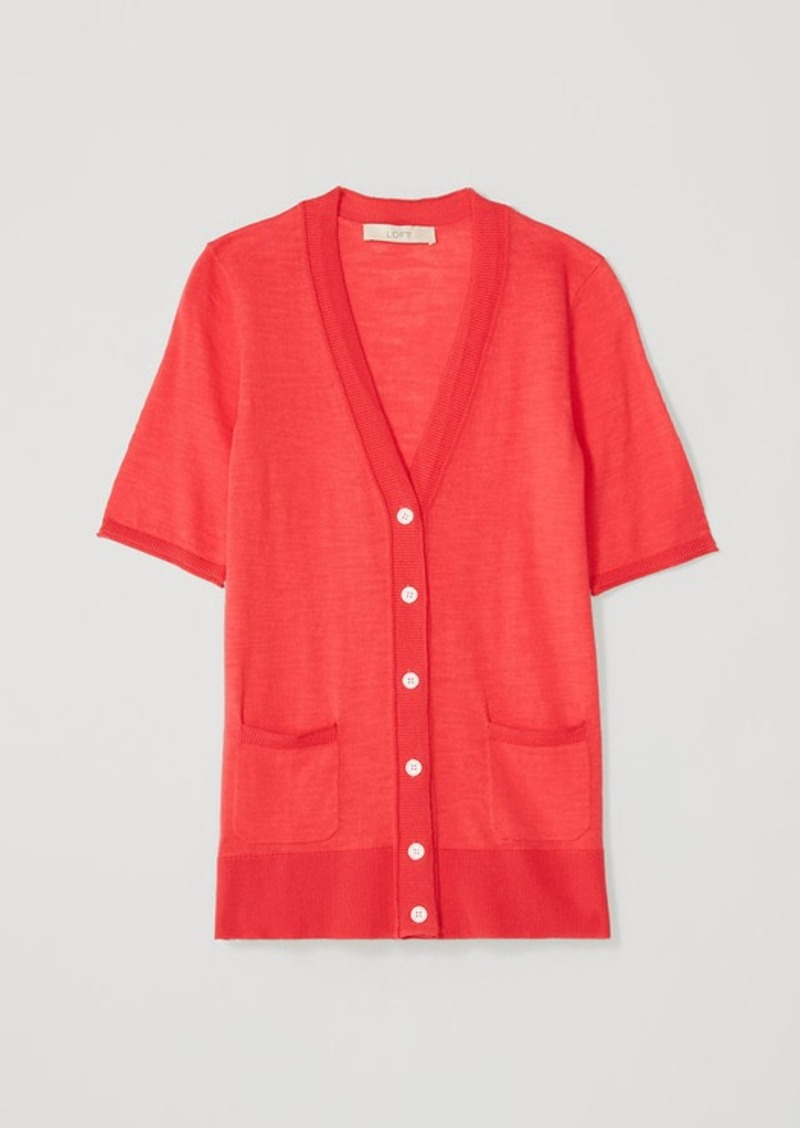 LOFT Textured Short Sleeve Cotton Cardigan | Sweaters - Shop It To Me