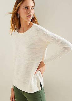 LOFT Textured Stripe Drop Shoulder Sweater