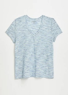 LOFT Textured Stripe Everyday V-Neck Tee