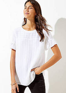 LOFT Textured Stripe Ruffle Cuff Top