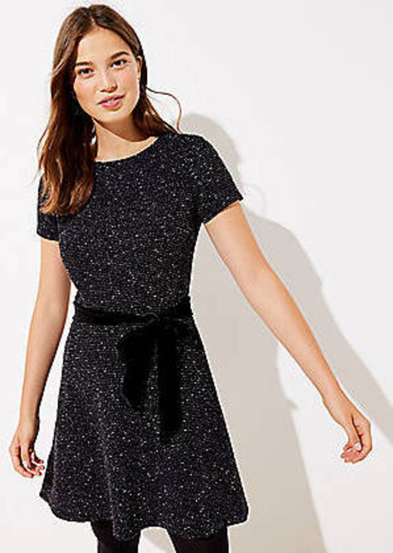 LOFT Textured Velvet Belted Dress
