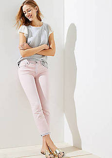 LOFT The Crop Jeans in Chalk Pink