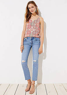 LOFT The Crop Jeans in Destructed Light Indigo Wash