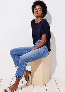 LOFT The Crop Slit Cuff Jeans in Mid Staple Indigo Wash