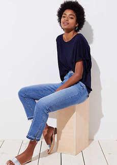 LOFT The Crop Slit Cuff Jeans in Mid Staple Indigo Wash