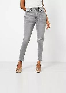LOFT Curvy Chewed Hem High Rise Skinny Jeans in Silver Grey