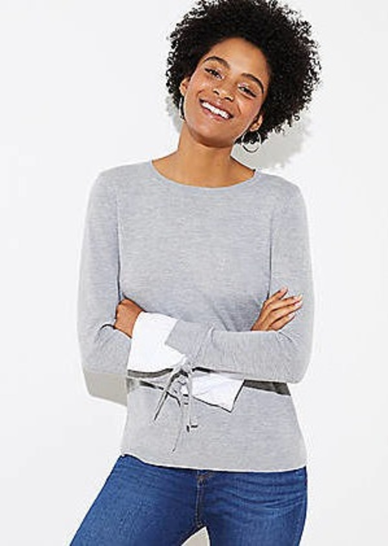 LOFT Tie Cuff Mixed Media Sweater