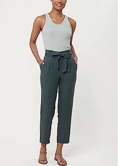 LOFT Tie High Waist Linen Cotton Tapered Pants