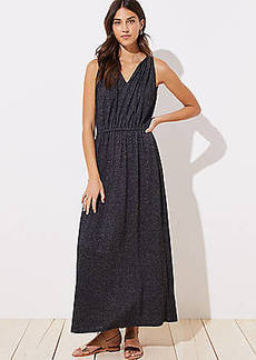 LOFT Tie Neck Maxi Dress