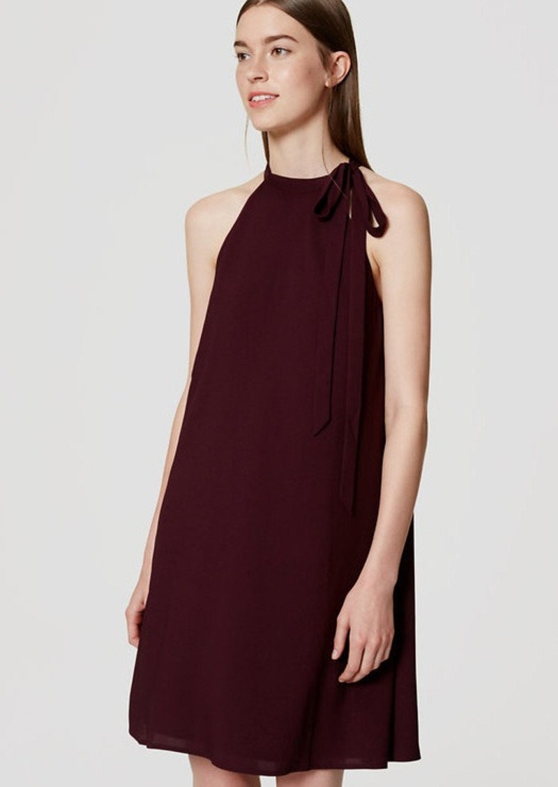 LOFT Tie Neck Swing Dress