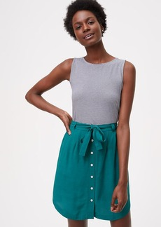Tie Waist Button Skirt
