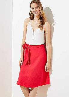 LOFT Tie Waist Linen Blend Skirt