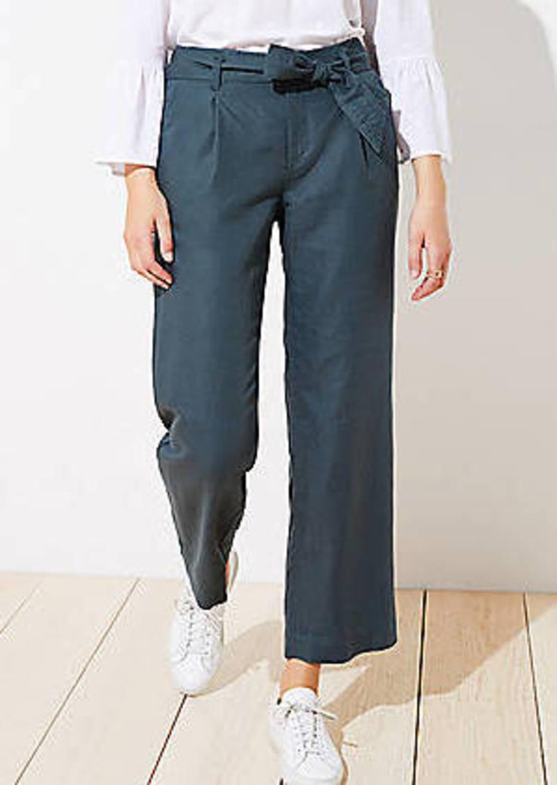 LOFT Tie Waist Linen Blend Slim Pants