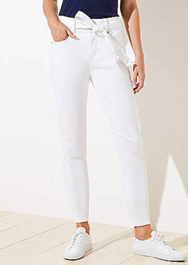 LOFT Tie Waist Skinny Jeans in White