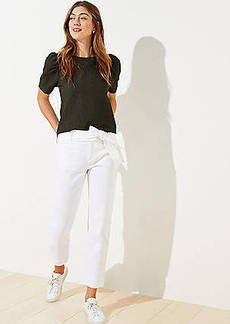LOFT Tie Waist Straight Crop Pants