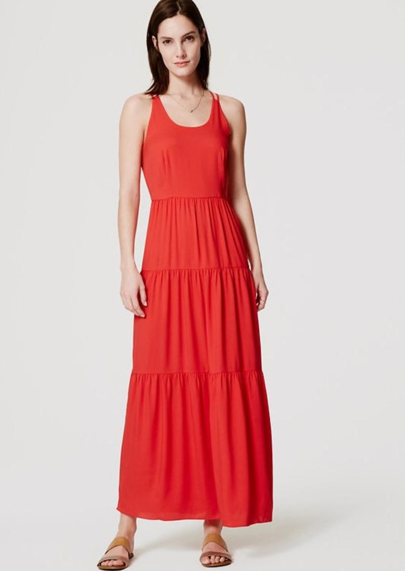 LOFT Tiered Strappy Maxi Dress