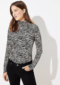 LOFT Tiger Stripe Textured Turtleneck Top