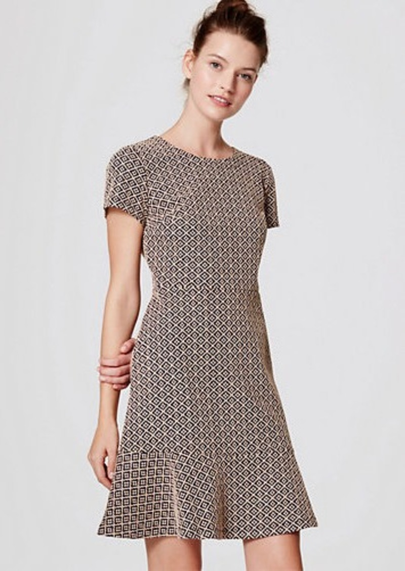 LOFT Tile Jacquard Flounce Dress