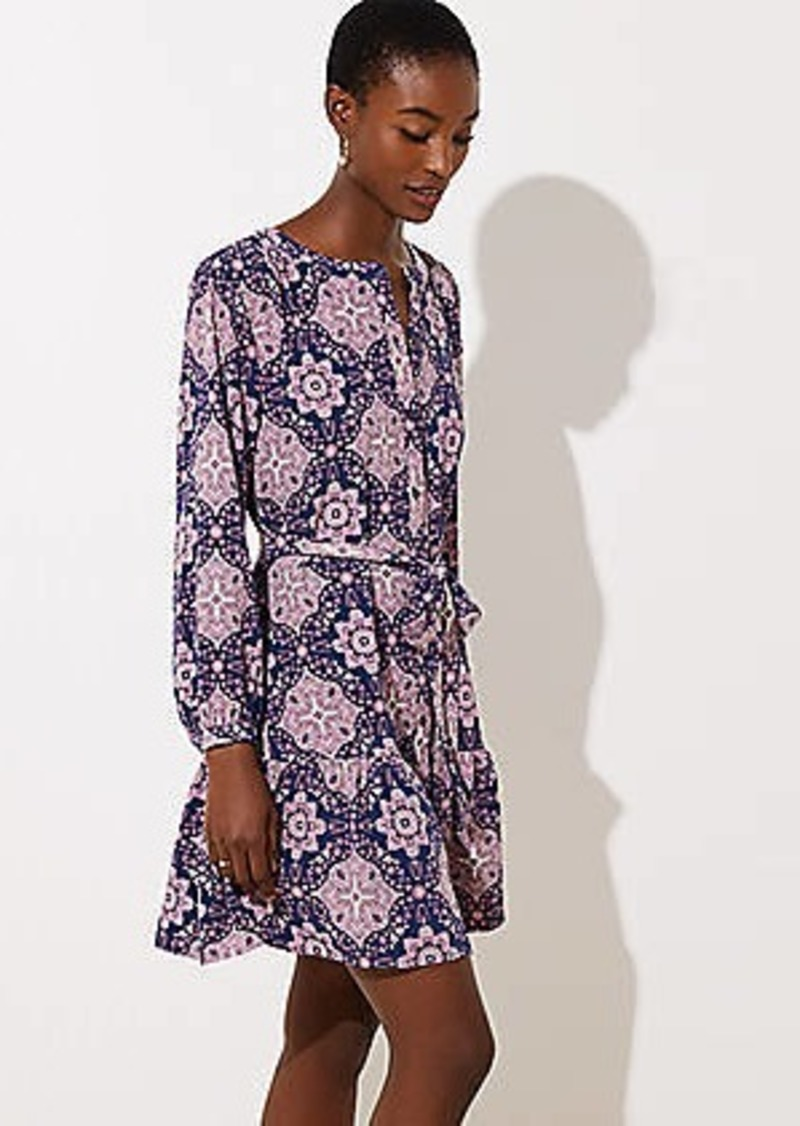 LOFT Tiled Tie Waist Flounce Dress
