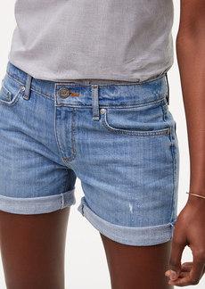 Tipped Denim Roll Shorts in Light Stonewash