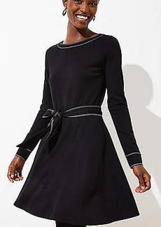 LOFT Topstitched Tie Waist Flare Dress