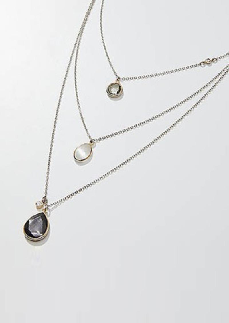 LOFT Triple Layered Stone Pendant Necklace