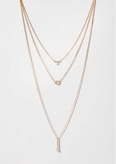 LOFT Triple Strand Crystal Pendant Necklace