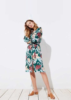 Tropical Tie Waist Midi Shirtdress