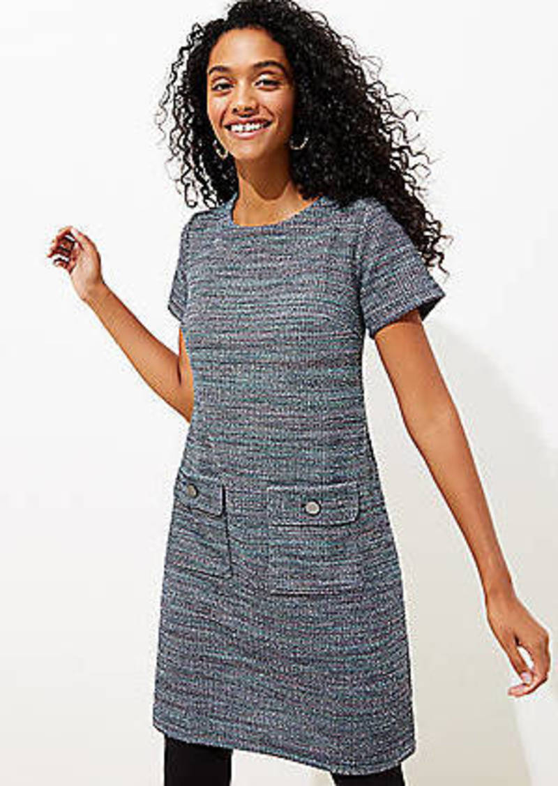 LOFT Tweed Button Pocket Shift Dress