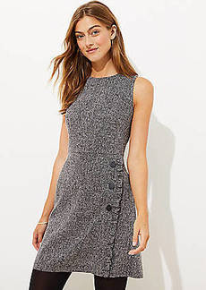 LOFT Tweed Ruffle Button Flare Dress