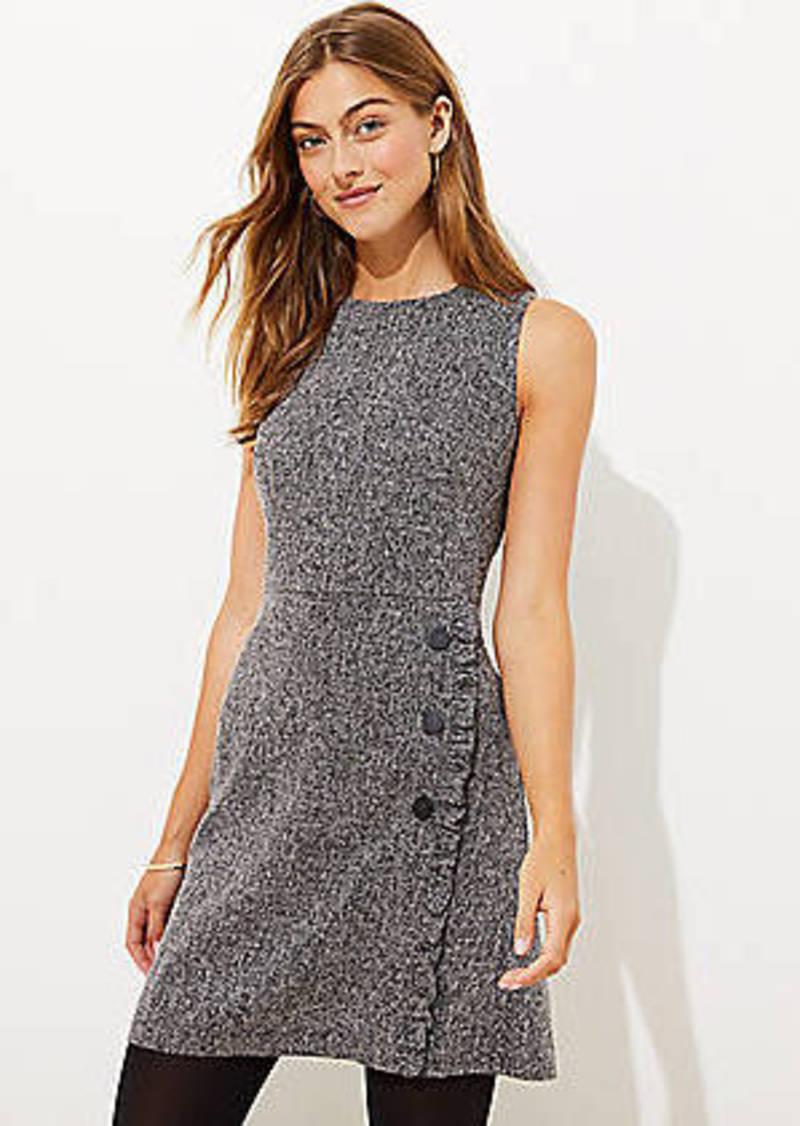 LOFT Tweed Ruffle Button Flare Dress