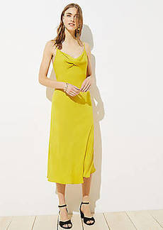 LOFT Twist Midi Slip Dress
