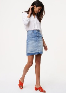 Unpicked Denim Shift Skirt