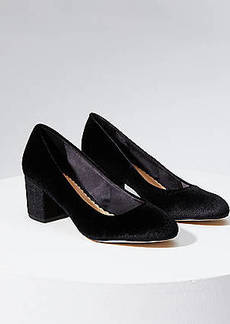 LOFT Velvet Block Heel Pumps