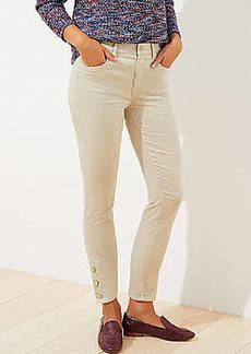 LOFT Velvet Button Hem Skinny Pants