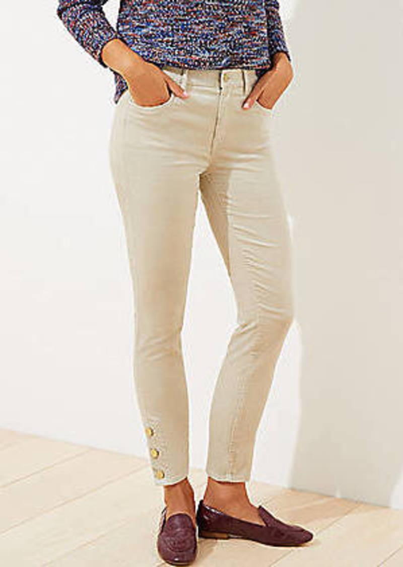 LOFT Velvet Button Hem Skinny Pants