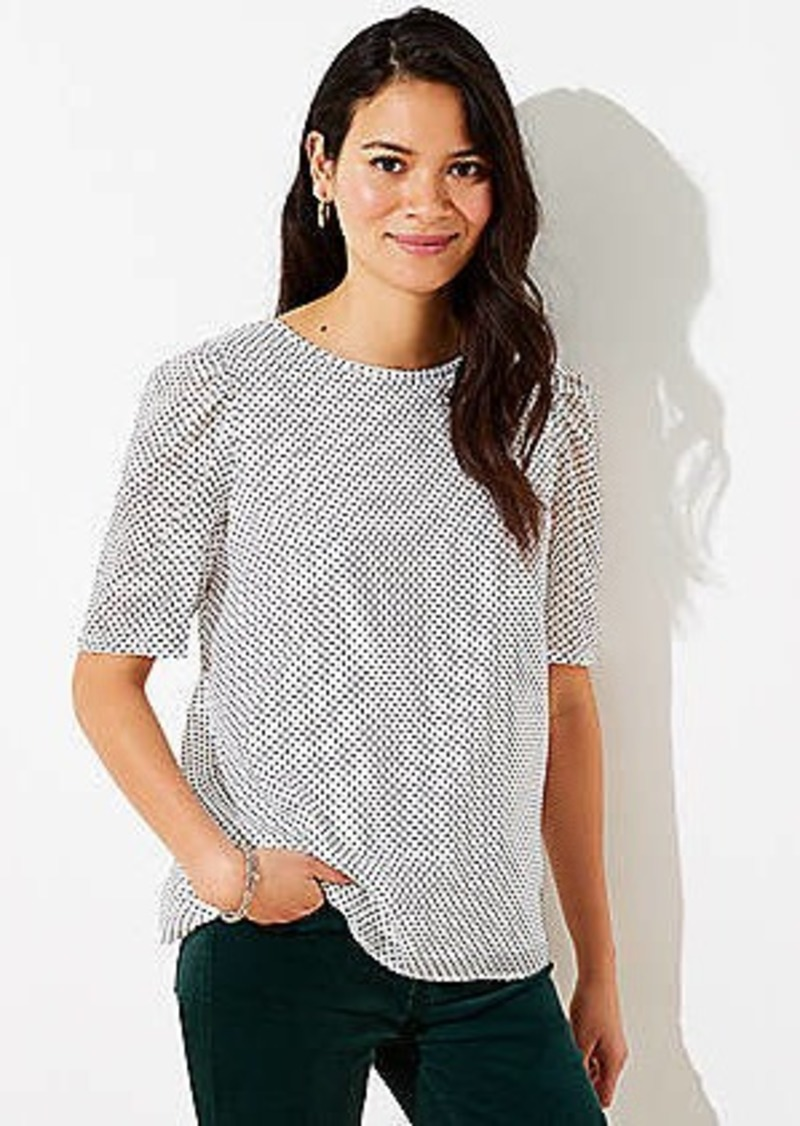 LOFT Velvet Dot Puff Sleeve Top