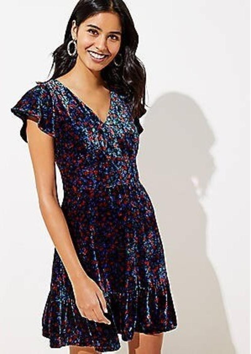 LOFT Velvet Flare Dress