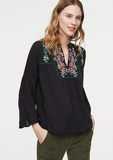 LOFT Vine Embroidered Bell Sleeve Top