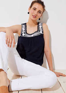 LOFT Vine Embroidered Square Neck Tank