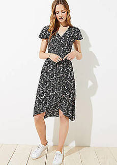 LOFT Vine Flutter Midi Wrap Dress