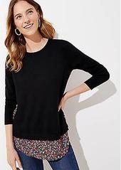 LOFT Vine Mixed Media Shirttail Sweater