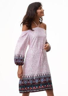 Vine Paisley Off The Shoulder Halter Dress