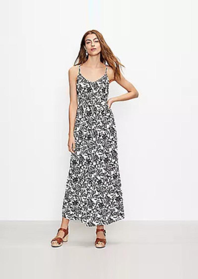 LOFT Vine Tie Back Strappy Maxi Dress